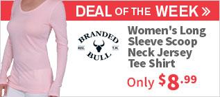 Branded Bull Women's Long Sleeve Scoop Neck Jersey Tee Shirt