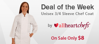 allheartchefs Unisex 3/4 Sleeve Chef Coat